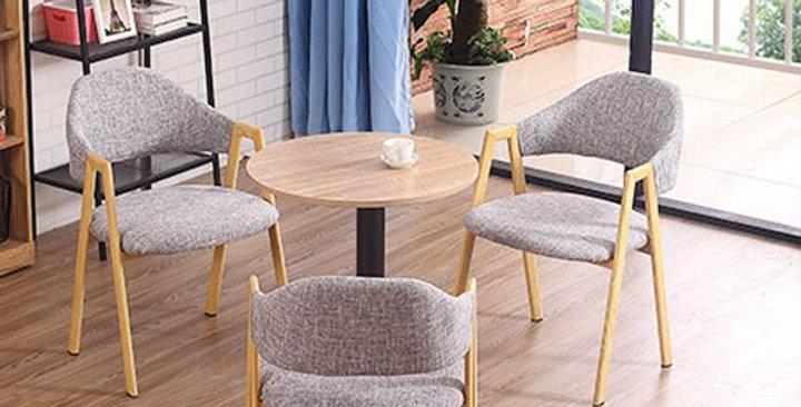 仿木色金屬腳灰色布餐椅 F165-1050