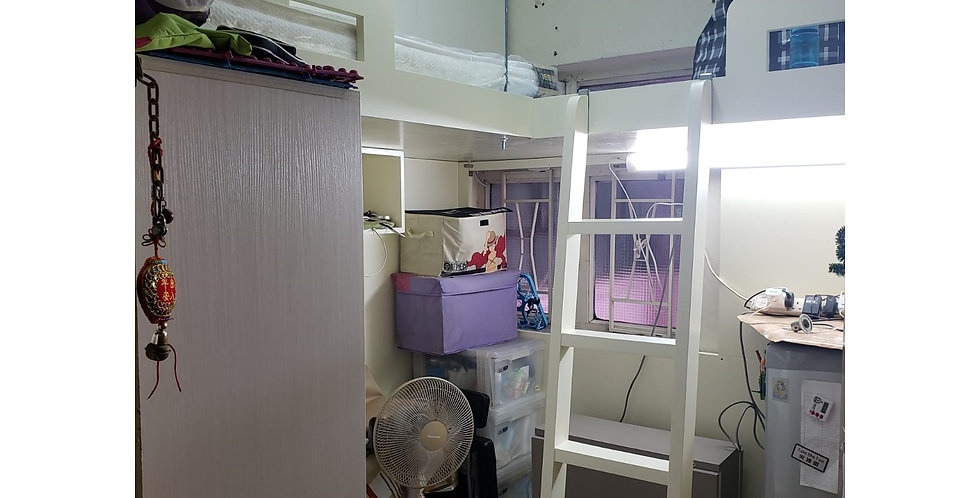 關懷基層家庭  (旺角區) #曲尺高架床 #衣櫃 #吊櫃 #摺疊餐桌 實物圖片