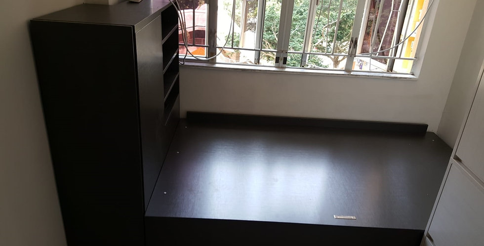 客人訂制 3呎半油壓床+床頭矮衣櫃+到頂衣櫃 實物圖片#621