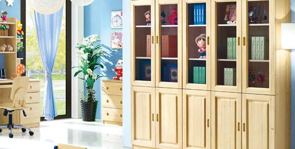 實木玻璃門書櫃/儲物櫃 G147-1021
