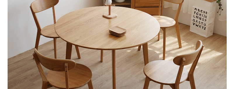 實木白橡木圓形餐桌 E203-1074