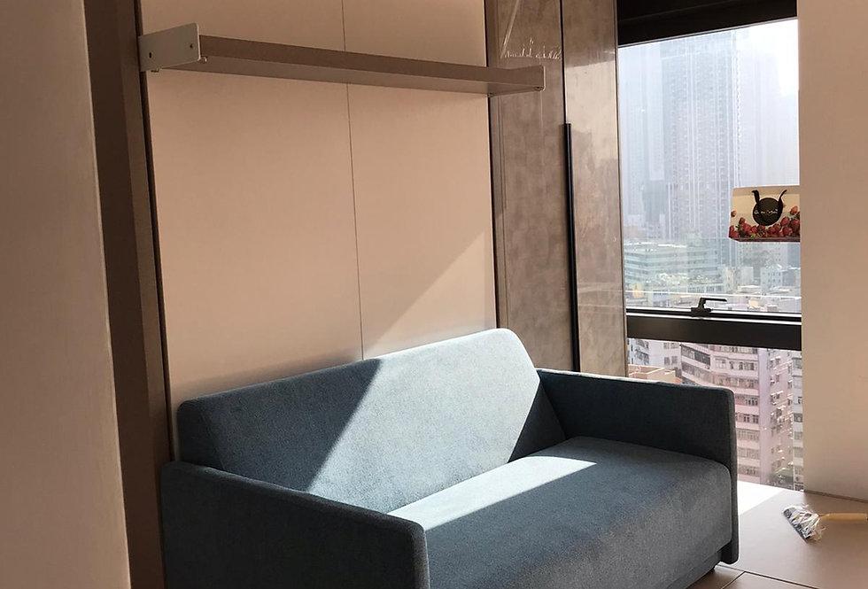 客人訂制  雙人梳化隱形床+地台床+電視櫃+衣櫃  實物圖片#808