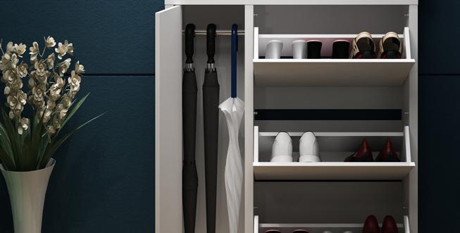 超薄型鞋櫃連單門掛物櫃 N177-1025