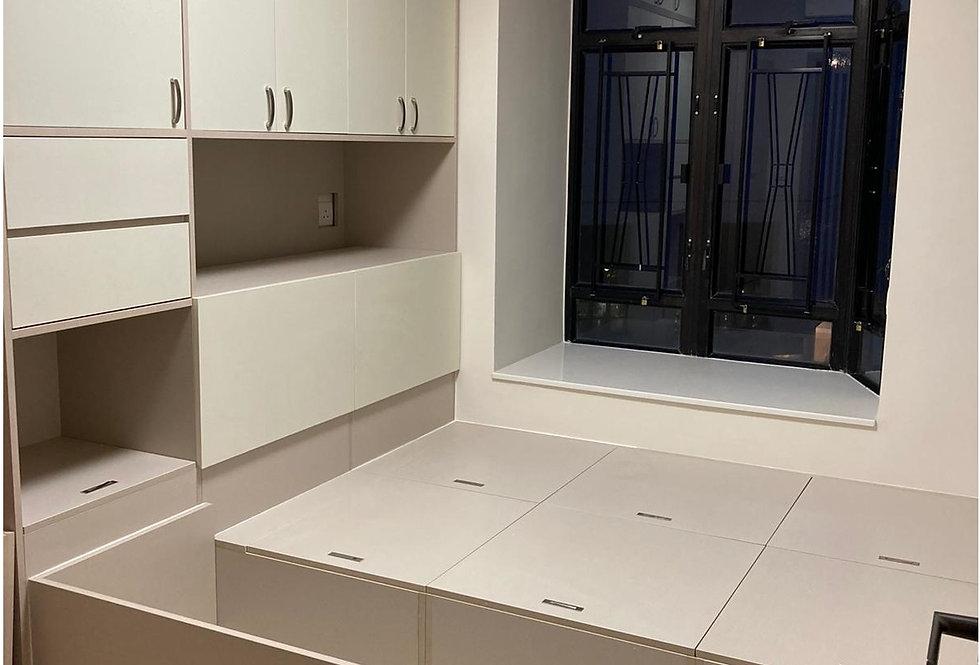 客人訂制 (鰂魚涌康怡花園)  房間地台床+床頭高櫃 實物圖片#936