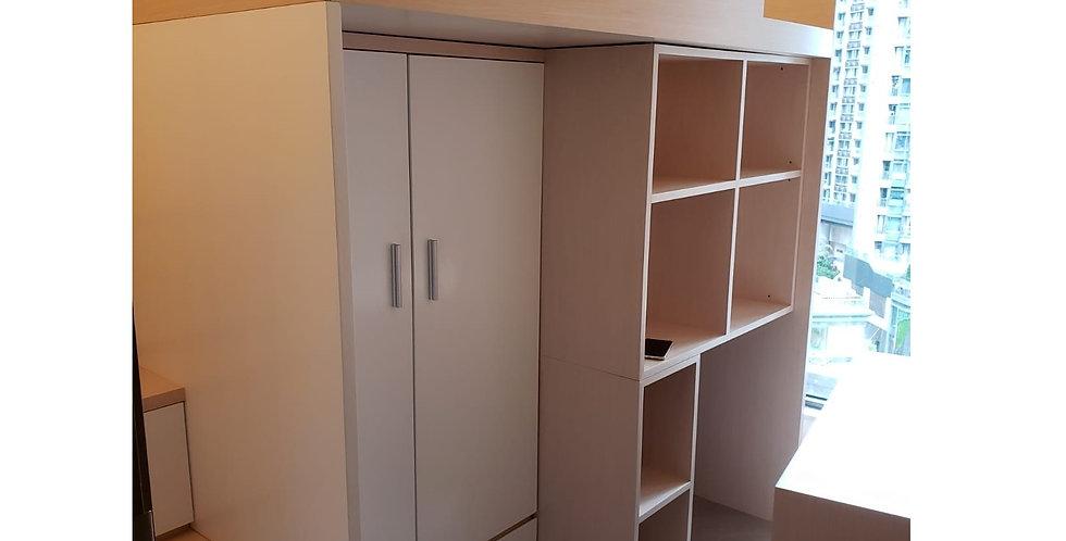 客人訂制 (將軍澳天晉) #高架床衣櫃書桌梯櫃組合  實物圖片#909