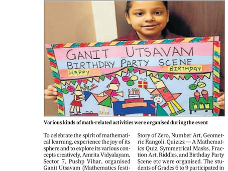 Amrita Vidyalayam, Pushp Vihar, Organizes Math Festival*