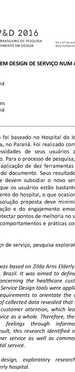 PESQUISA EXPLORATÓRIA EM DESIGN DE SERVIÇO NUM AMBIENTE HOSPITALAR