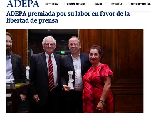 ADEPA premiada por su labor en favor de la libertad de prensa