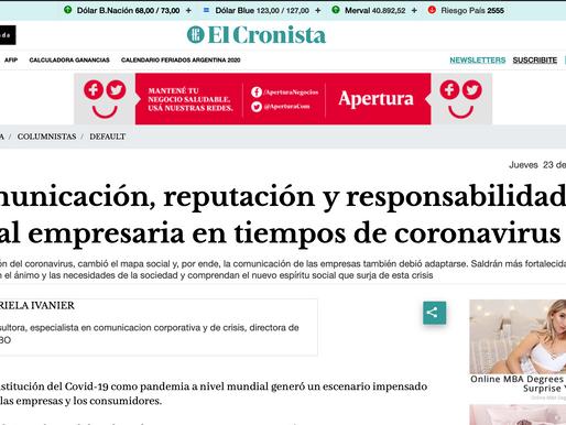 Comunicación, reputación y responsabilidad social empresaria en tiempos de coronavirus