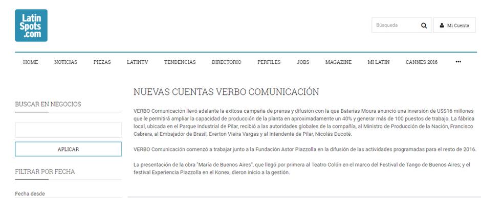 Nuevas cuentas Verbo Comunicación (Latin Spots)