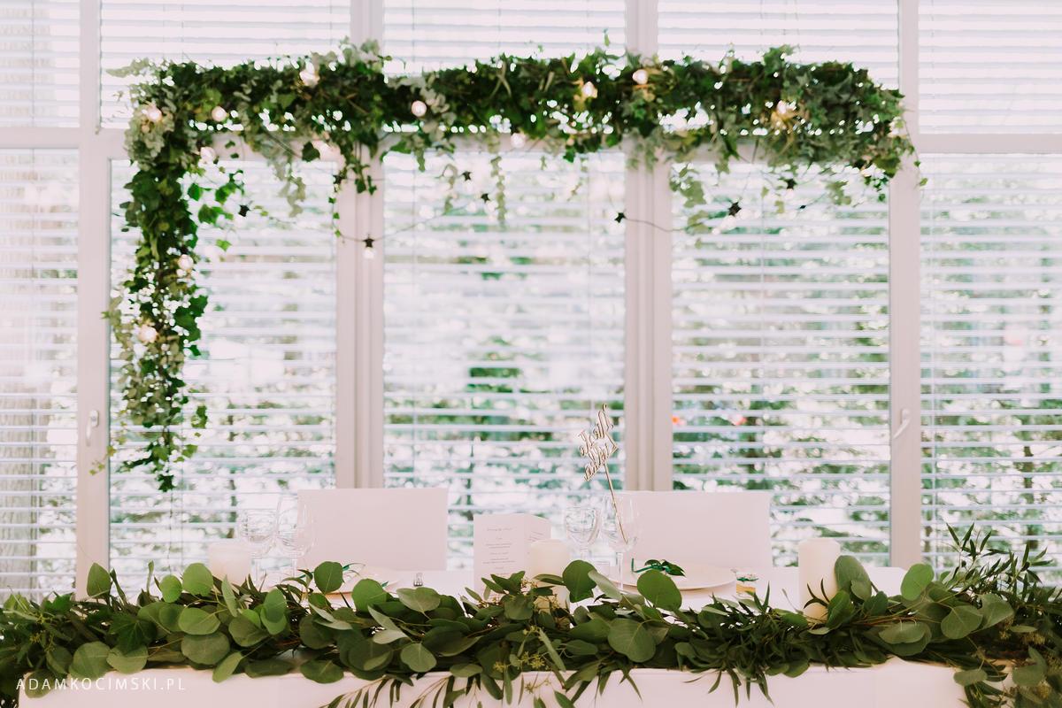dekoracja ślubna eukaliptus