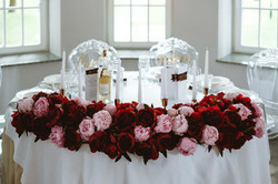 dekoracja ślubna burgund różowy