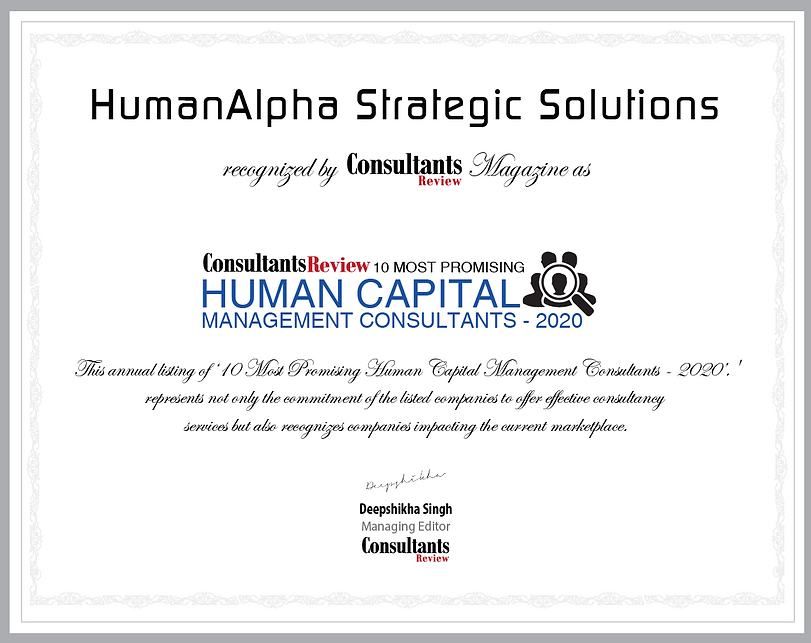 "HumanAlpha recognized among the ""10 Most Promising Human Capital Management Consultants - 2020"" by Consultants Review"