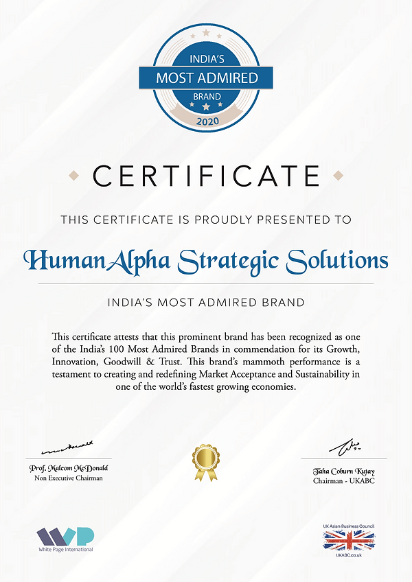 "HumanAlpha Strategic Solutions bags ""India's Most Admired Brand - 2020"""