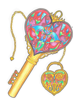Lock and key colouring page