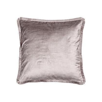 Sametový lesklý polštář s třásněmi - pudrový