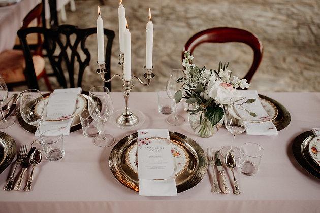 Růžový ubrus/běhoun na stůl - set 9ks