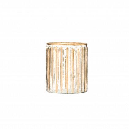 Malý skleněný svícen - zlaté proužky