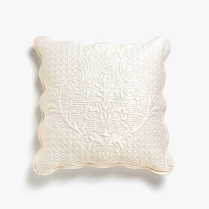 Krémový lesklý polštář se vzorem