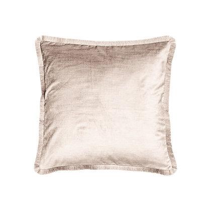 Sametový lesklý polštář s třásněmi - béžový