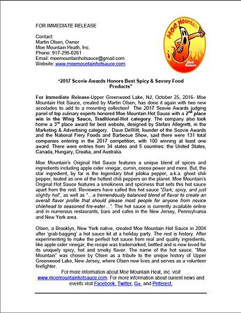 Moe Mountain Hot Sauce Award