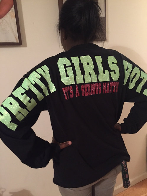 Pretty Girls Vote Jumbo Glitter Shirt