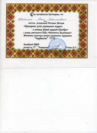 Сертификат участника регионального Фести