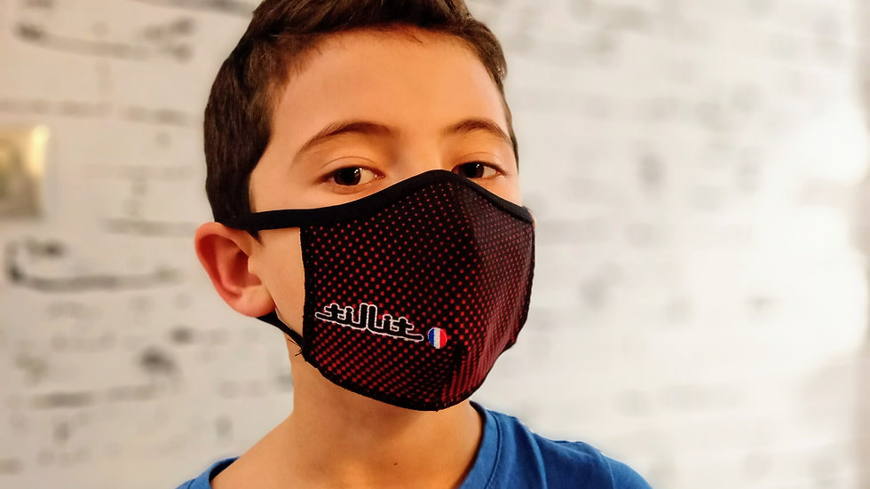 Masques TilliT MIF Adultes/Kids : Point Noir/Fond rouge-rose
