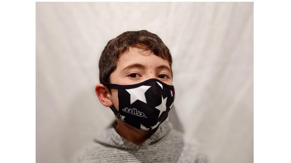 Masques TilliT MIF Adultes/Kids : ETOILES Noir Blanc