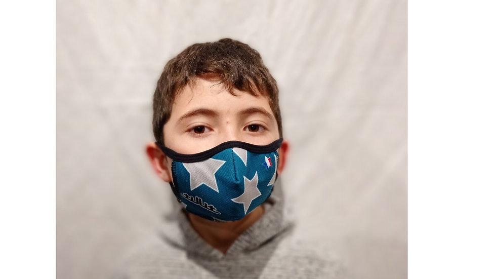 Masques TilliT MIF Adultes/Kids : ETOILES Bleu/Vert-Blanc