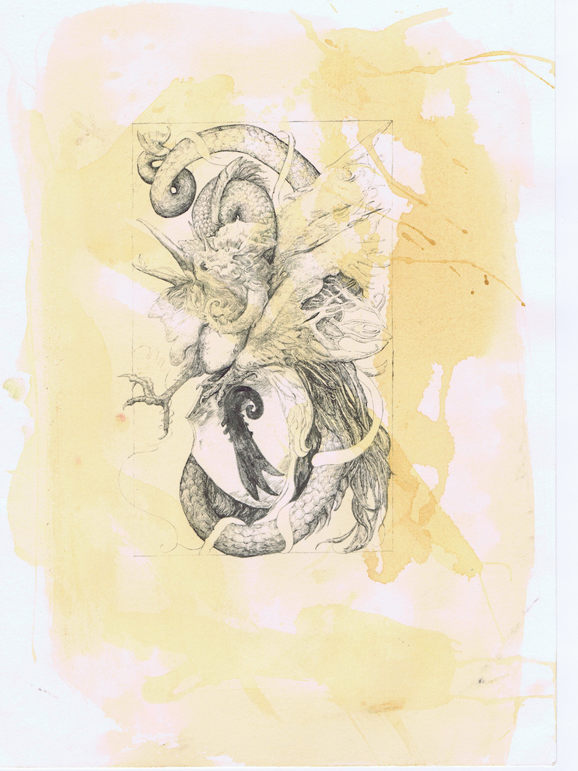 Basel Basilisk, tea stained print from brush and ink painting