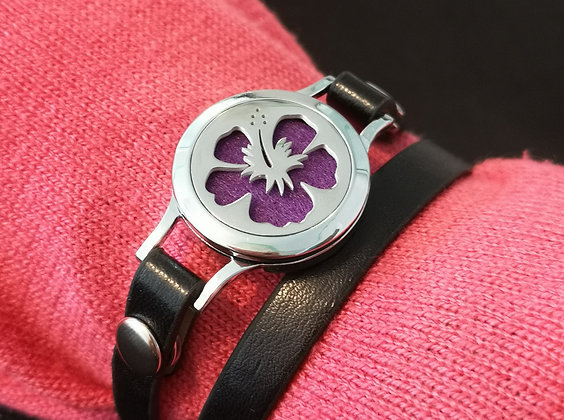 Hibiscus Flower on Faux Leather