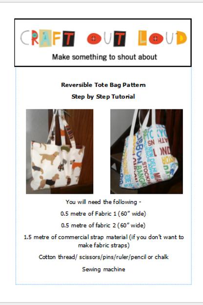 Reversible Shopping Tote Bag Sewing Pattern