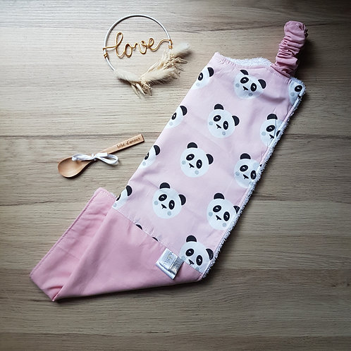 Bavoir xl pandas roses