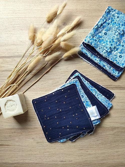 Cotons lavables blue