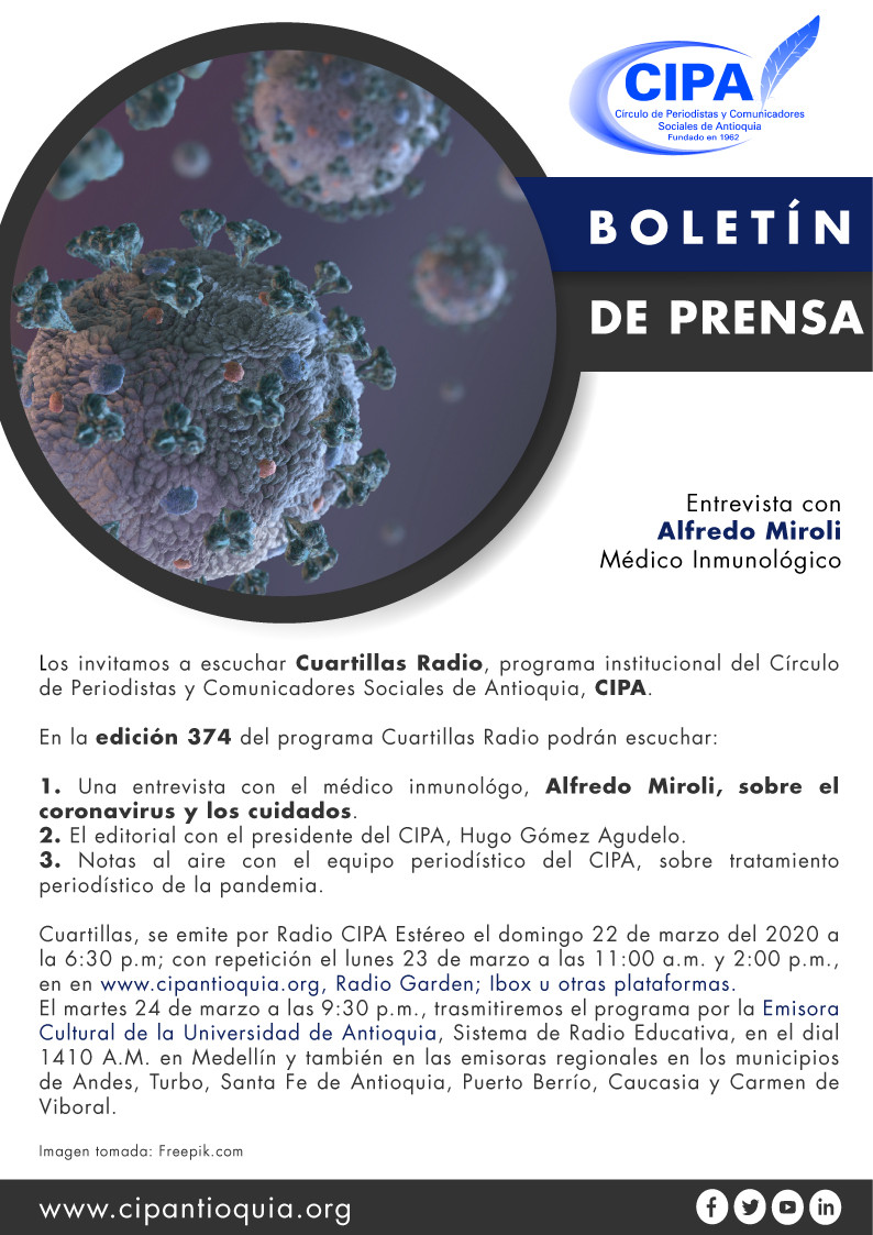 Cuartillas es el programa institucional del Círculo de Periodistas y Comunicadores Sociales de Antioquia
