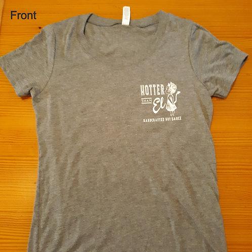 Woman's cut gray Ghost sauce t-shirt