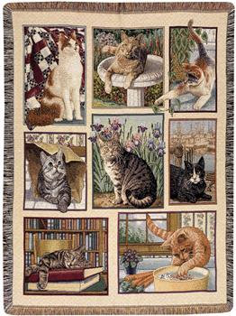 Manual Weavers Kitty Corner  Cotton Tapestry Throw