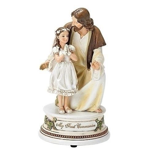 Roman Girls First Communion with Jesus Musical Figurine