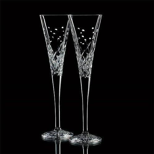 Wishes Happy Celebration Toasting Flutes, Set of 2
