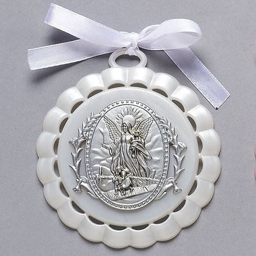 Roman Guardian Angel Cradle Medal White