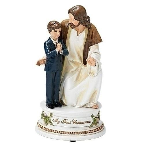 Roman Boys First Communion with Jesus Music Figurine