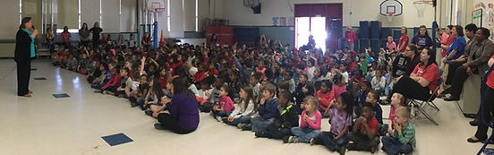 Kim Norman author visit, large assembly