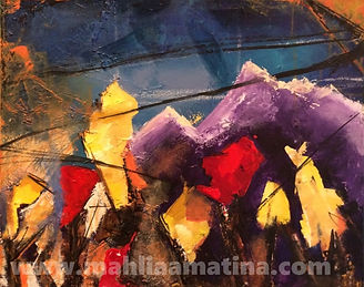 Painting of abstract artist's contemporary work based on international art in Nepal