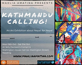 Leaflet and flyer advertising art exhibition by Mahlia Amatina in Reading, Berkshire for Nepal. Contemporary ad international art show endorsed by Joanna Lumley.