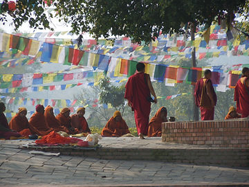 A photo of monks praying in unison in Lumbini, Nepal, the home and birthplace of Praying monks in Lumbini, Nepal - the birthplace of the Gautama Buddha