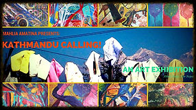Official poster for 'Kathmandu Calling!' art expo in support of Nepal and the Earthquake victims. Abstract art on canvas created in a vibrant, feelgood anduplifting manner. Healing art that transcends boundaries internationally to connect with all earthly beings.