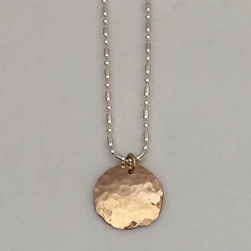 Gold hammered disc necklace jewelry gold hammered disc necklace aloadofball Images