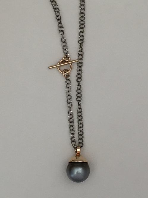Tahitian Pearl on Oxidized Chain
