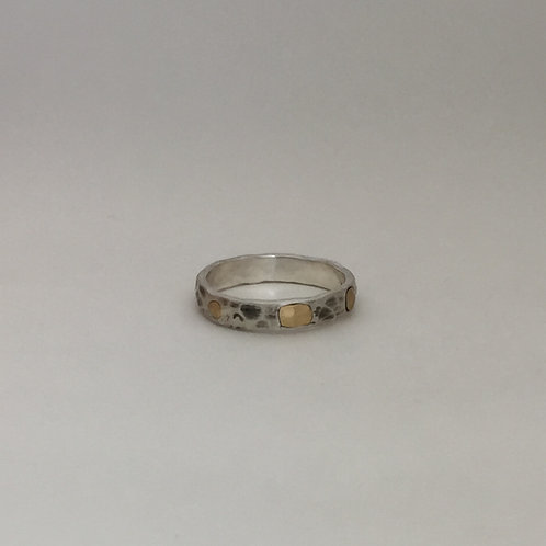Hammered Silver Band with Gold Accents